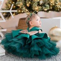 Birinci Yıl Doğum Günü Kostüm Vaftiz Kız Elbise Prenses Katmanlı Çiçek Kız Çocuklar için Bebek Clotheschildren Düğün Parti Giyim