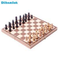 جديد طوي خشبي الشطرنج الطاولة لعبة الداما عارضة مكتب استراتيجية الألعاب مجموعة المجلس المسودات الترفيه اللعب هدية عيد A0511