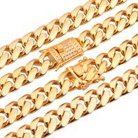 Ankommen 15mm cool goldschmuck miami bordkubanische männerschain halskette oder armband armreif 316l edelstahl weiße rehinestone ketten
