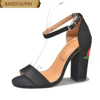 Fashion Velvet Embroidery Thick Heels High-heeled Female Sandals Large Size Shoes Custom Larger Code 40 4142 43