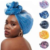 Scarves Fashion Tie-Dye Printing Turban Hat Muslim Chemo Head Wrap Braid Hijab Caps Inner Bonnet Ready To Wear Multifunction Scarf