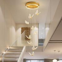 Modern Avize Kelebek Şekli Sanat LED Merdiven Kolye Lamba Ev Yemek Oturma Odası için Strairwell Villa Dekorasyon