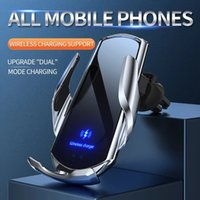 Automatic 15W Qi Car Wireless Charger for iPhone 12 11 XS XR X 8 Samsung S20 S10 Magnetic USB Infrared Sensor Phone Holder Mount