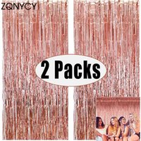 Party Decoration 2Pack Backdrop Metallic Foil Fringe Tinsel Curtain Adult Kids Birthday Wedding Baby Shower Favor Supplies