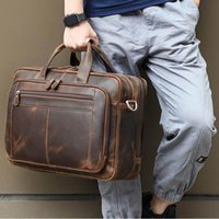 이탈리아 소 가죽 가죽 서류 가방 남성 비즈니스 브랜드 덱스 어깨 여행 노트북 가방 17 15 대용량 YKK 금속 지퍼 서류 가방