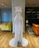 New Sexy Sparkle Sequined Mermaid Prom Dresses Crystal Beaded High Neck Side Split Long White Evening Dress Party Gowns