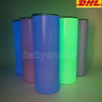 Sublimación tazas rectas en blanco resplandor en el vaso oscuro 20 oz con pintura luminosa Luminiscente Staliness Steel Tumblers Magic Travel Cup