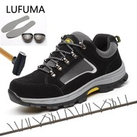 Lufuma marka artı boyutu 39-48 kadın erkek iş güvenliği çizmeler hakiki deri çelik toecap darbeye dayanıklı adam bayanlar ayakkabı 210903