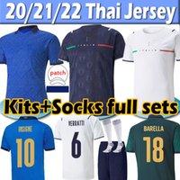 이탈리아 21/22 New 유니폼 Fans player version 2021 Italy soccer Jerseys IMMOBILE BARELLA INSIGNE CHIELLINI BERNARDESCHI 남성복 + 여성복 + 아동복 축구 유니폼