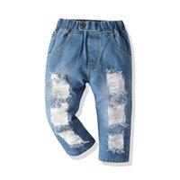 Üst ve Üst Moda Çocuklar Rahat Kot Pantolon Çocuk Erkek Kız Kırık Gevşek Delik Kot Pantolon İlkbahar Sonbahar 210317
