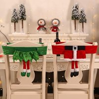 Christmas Chair Cover Santa Claus Belt Chair Covers Ghristmas Elf Girl Skirt Stool Decorations OWA8771