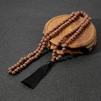 Beaded Halsband 108mala Bodhi Rudraksha Knotted Beaded Long Tassel Round Pärlhalsband Straight