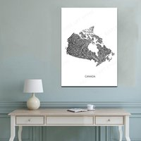 Paintings Famous City Map Canada Fingerprint Print Canvas Painting Wall Art Pictures Black White Posters And Prints Living Room Home Decor