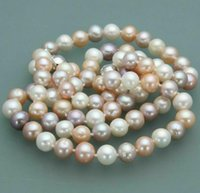 8-9mm Natural Pearl Beaded Necklace 18inch 925 Silver Clasp Women's Gift Jewelry