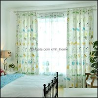 Curtain Deco El Supplies Home Gardencurtain & Drapes Simple Modern Printing Curtains For Living Room Bedroom Nordic Plants Linen-Like Englis