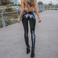 Insta Faux Cuir Pant Femmes Skinny Shine Sexy Push Up Haute Taille Noir Streetwear Casual Casual Traquage intégré 2021 Mode Capris Pantalon Femme