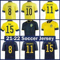 21 22 Jersey Soccer Sweden Chemise de football Lindelof Milosevic Larsson Uniformes Berg Hommes Forsberg Ibrahimovic Isak Ekdal Kulusevski Claesson SFE Green Clear