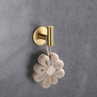 1 pcs autoadesivo único toalha ganchos banheiro escovado ouro robe gancho cabide roupas bola de banho cremalheira 304 aço inoxidável