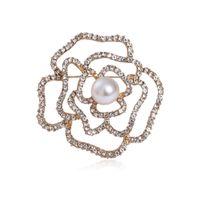 Сплав День Святого Валентина подарок жемчужный брошь классическая полая алмазная камелия брошь