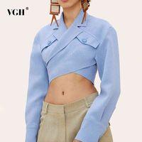VGH Asymétrical Slim Blouses Femmes Collier de revers Collier à manches longues Casual Short Shirts Tops pour Femme Fashion Vêtements Marée 210402
