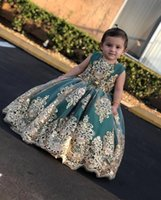 2022 Little Flower Girls' Dresses with Gold Lace Applique Long Pageant Gowns Jade Bow Princess Dress Kids Formal Wear