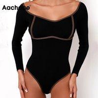 Aachoae Fashion Dame Patchwork Body BodySuits à manches longues Jumpsuits Modycon Jumpsuits Sexy Femmes Suit Corps Combinaison Femme 210414