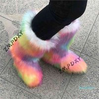 Ladies Winter Mixed Colour High Snow Boots Women's Rain Cotton Shoes Girls Fluffy Botas Mujer Indoor Warm Plush Platform Boots 210326