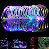 Strings 100 200 LEDs Solar Powered Rope Tube String Lights Outdoor Waterproof Fairy Garden Garland For Christmas Yard Decoration