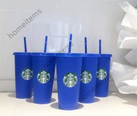 Mermaid Goddess Starbucks 24oz 710ml Color Change Tumblers Plastic Drinking Juice Cup With Lip And Straw Magic Coffee Mug 50pcs