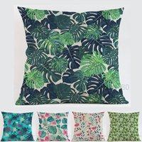 Cushion Decorative Pillow 45*45cm Square Pastoral Style Green Decorative Tropical Plant Leaves Cushion Cover Home Decor