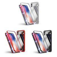 Per Samsung S20 Ultra Nota 20 10 Caso in metallo adsorbimento magnetico per iPhone 12 11 Pro XS X XR Max Casi in metallo full corpo con GL temperato posteriore