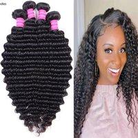 Natural 1b Color Deep Wave Hair Bundles Virgin Human Hair Extensions Indian Peruvian Brazilian Hair 4pcs