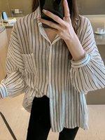 Kadın Moda BF Stil Düğme Aşağı Çevirin Yaka Uzun Kollu Streetwear Gömlek Kadınlar Için Yeni Yaz Gevşek Bluz