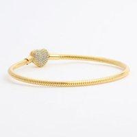 القلب مطلية بالذهب تشيكوسلوفاكيا الماس عيار 18 كيلو الأساور الأصفر مربع الأصلي مجموعة ل باندورا 925 الفضة الأفعى سلسلة سوار للنساء مجوهرات الزفاف 6p18