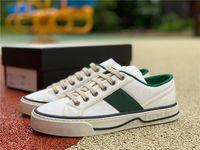 [مع صندوق] 2021 تنس 1977 الرجال المرأة قماش عارضة الأحذية الأخضر والأحمر ويب الشريط الأحذية إيطاليا المطرزة الفضلات المصممين النساء منخفضة أعلى الانزلاق على حذاء رياضة أعلى جودة # 177