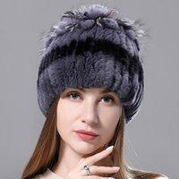 Beanie / Kafatası Kapaklar Rus Kış Gerçek Kürk Şapka Doğal Rex Sıcak Kap Bayanlar Örme 100% Geunine Şapkalar