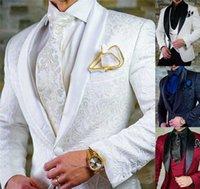 2021 tamanho feito sob encomenda jacquard groomsmen noiva branca bride scarf lenço inversores ternos ternos casamento baile de homem blazer com calças