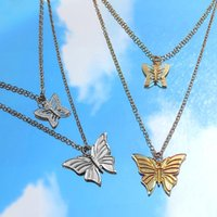 Bylia Jewel Fashion Multilayer Hollow Butterfly Pendant Necklace Gold Silver Color Fine Long Chain For Women Jewelry Chains