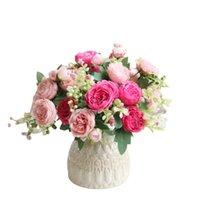 1 bouquet 5 têtes artificielles pivoine thé rose fleurs camellia silk fausse fleur pour bricolage maison de mariage maison de mariage