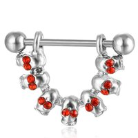 D0652-1 (2 colori) Stili di cranio rosso capezzolo nero colore ombelico ombelico anello piercing corpo jewlery 1.6 * 11 * 5/8 gioielli corpo anello della pancia