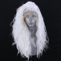 Synthetic Wigs White Blonde Body Wave Lace Front For Women Half Hand Tied Heat Resistant Fiber Hair Natural Hairline