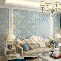 Damasco moderno papel tapiz de pared papel en relieve texturado 3d cubierta de pared para dormitorio sala de estar decoración del hogar 621 R2