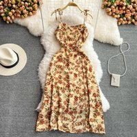 Casual Dresses French Girl Spaghetti Strap Floral Dress Summer Sexy Long Beach Women High Waist Backless Flower Print Slip