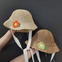 Fashions ins verano flor decoración sombreros para chicas paja niños bebé niña cubeta sombrero hecho a mano niños panama vacaciones playa gorras