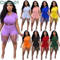 Kadın Eşofman İki Adet Set Tasarımcısı Kısa Kollu Püskül Pantolon Rahat Katı Renk Spor Spor Koşu Artı Boyutu Giysileri S-XXXXL