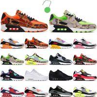 2021 Moda 90 Menshoes Runing Shoes Mulheres Esportes Sneakers 90s Essential Hyper Lime Uva Dangefloor Royal Green Camo Laranja Branco Running Mens Trianers 36-45
