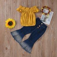 Mode Kleinkind Kinder Baby Mädchen Sommer Kleidung Party Sets aus Schulter Tops T-shirt Farbige Hosen 2 stücke Mädchen Kleidung Outfits 3-7Y 1025 V2