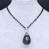 Gota de água Obsidian Stone Aço Inoxidável Colar Colar Mulheres Witchcraft Colares Jóias Acero Inoxidable Joyeria Mujer NXS04 Pingente