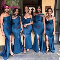 Bridesmaid Dress Navy Blue Sexy Mermaid Dresses Satin Side Split Long Maid Of Honor Vestidos De Dama