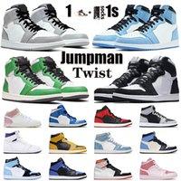 nike air jordan retro 1 1s off white Top Quality Twist Basketball Shoes 1 1s Ar Lucky Verde Retro Mid Chicago Toe Mens Womens Unc Obsidian SatinTênis de treinadores da Jordan
